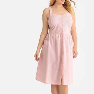 Castaluna Plus Size Flared Striped Crossover Back Midi Dress