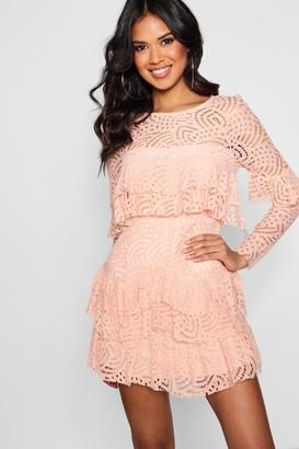 boohoo Boutique Lace Ruffle Skater Dress