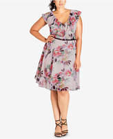 City Chic Trendy Plus Size Ruffled A-Line Dress