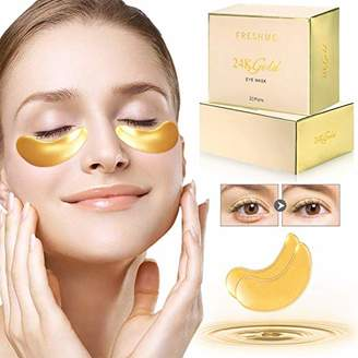 FRESHME Under Eye Mask - 20 Pairs Nano Gold Eye Pads Hyaluronan Eye Patches Treatment Masks with Rosa Rugosa Oil for Moisturizing Reducing Dark Circles Puffiness Wrinkles Gel Pad for Women & Men