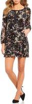 Gibson & Latimer Velvet Floral Long Sleeve Shift Dress