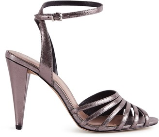Reiss GARBO METALLIC STRAPPY HIGH HEELED SANDALS Metallic