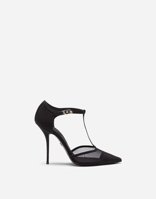 Dolce & Gabbana T-Strap Sandals In Mesh And Grosgrain
