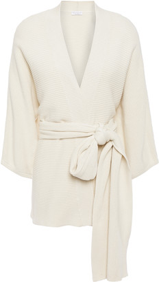 Brunello Cucinelli Belted Ribbed Cotton Cardigan