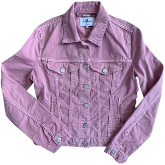 7 For All Mankind Pink Cotton Leather Jacket for Women