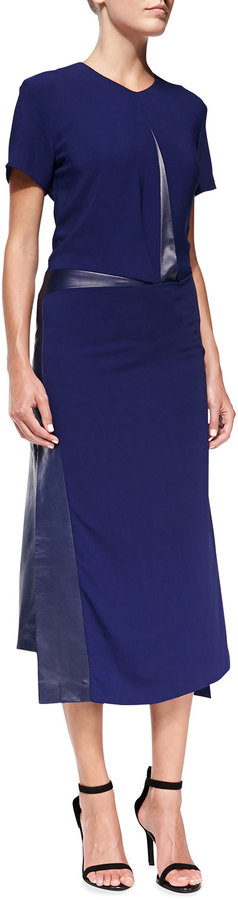 Reed Krakoff Short-Sleeve Asymmetric Dress with Leather Trim
