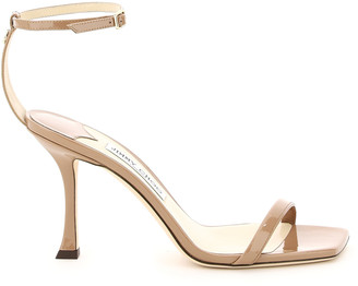 Jimmy Choo MARIN 90 PATENT LEATHER SANDALS 36 Pink, Brown Leather