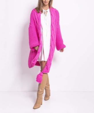 Fobya Women's Cardigans sweetpink - Sweet Pink Chunky Cable-Knit Tassel Open Cardigan - Women