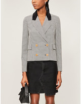 McQ Double-breasted cropped Teddy cotton blazer