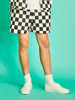 Checker Board Shorts Black White
