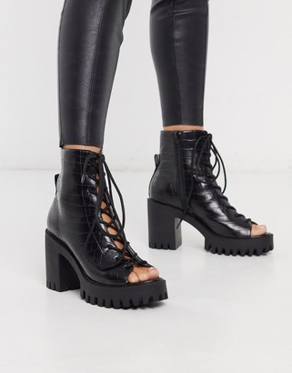 Public Desire Bassline cleated lace up peep toe ankle boot in black mock croc