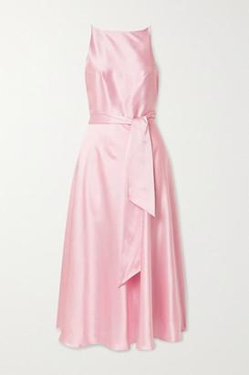 HARMUR - The Audrey Silk-satin Wrap Dress - Pastel pink