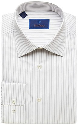 David Donahue Regular Fit Striped Dress Shirt (White/Gray) Men's Dress