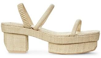 Cult Gaia Fifi Raffia Platform Slingback Sandals