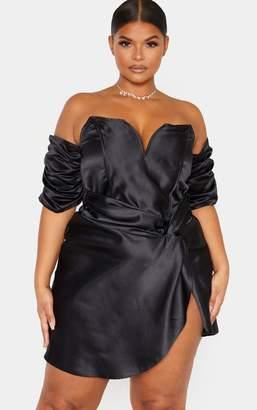 PrettyLittleThing Plus Champagne Satin V Bar Wrap Bodycon Dress
