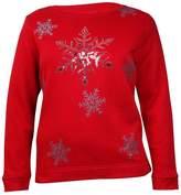 Karen Scott Womens Plus Fleece Sequined Sweatshirt Red