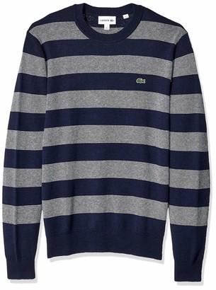 Lacoste Men's Long Sleeve Interlock Striped Sweater