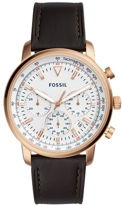 Fossil Men's Goodwin Stainless Steel Quartz Watch with Leather Calfskin Strap Brown 1.3 (Model: FS5415)