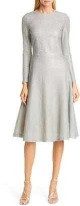 St. John Embellished Netting Knit Fit & Flare Dress
