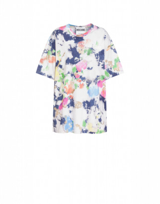 Moschino Painted And Bleached Flowers Jersey T-shirt Woman Multicoloured Size L It