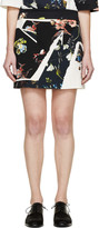 Erdem Navy and Ivory Botanical Shard Mari Mini Skirt