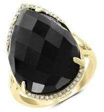 Effy 14K Yellow Gold, Diamond and Onyx Ring