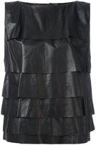 Diesel leather tank top - women - Lamb Skin/Polyester/Viscose - XS