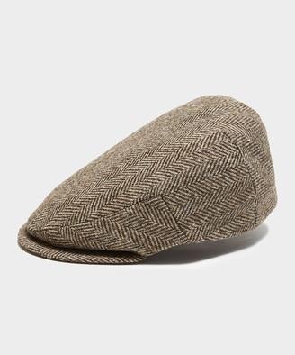 Lock & Co Hatters Lock & Co Drifter Flat Cap Moon Wool in Brown Herringbone