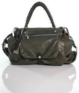 Gryson Green Leather Brown Trim Shoulder Handbag