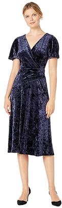 Lauren Ralph Lauren Empress Panne Velvet Marlin Short Sleeve Day Dress (Lighthouse Navy) Women's Clothing