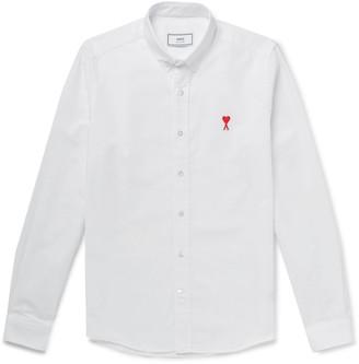 AMI Paris Button-Down Collar Logo-Appliqued Cotton Oxford Shirt
