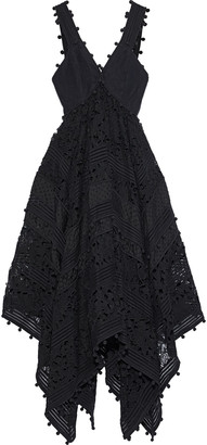Zimmermann Corsage Cotton And Silk-blend Canvas, Guipure Lace And Swiss-dot Voile Midi Dress