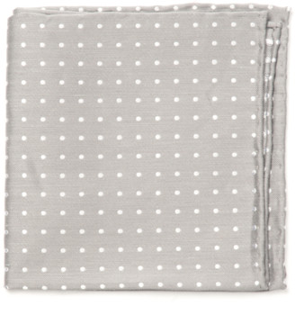 Tie Bar Dotted Dots Silver Pocket Square