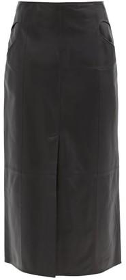 Ellery Piste Noire Leather Midi Skirt - Black