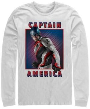 Marvel Men's Avengers Endgame Captain America Portrait, Long Sleeve T-shirt