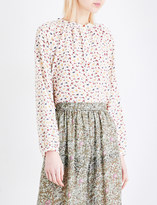 Vanessa Bruno Fleecy floral-print silk-crepe blouse
