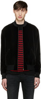 Saint Laurent Black Studded Velvet Bomber Jacket