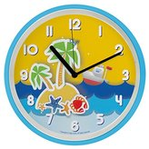 "Silent 10"" Large Starfish Nursery Non Ticking Wall Clock for Kids 