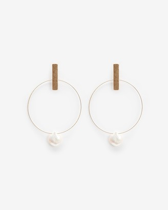 Express Bar Pearl Hoop Earrings