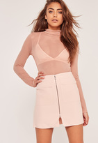 Missguided Zip Front Mini Skirt Pink