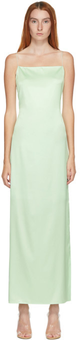 Helmut Lang SSENSE Exclusive Green Silk Slip Dress