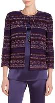 St. John Eyelash Degrade Stripe Tweed Knit Jacket
