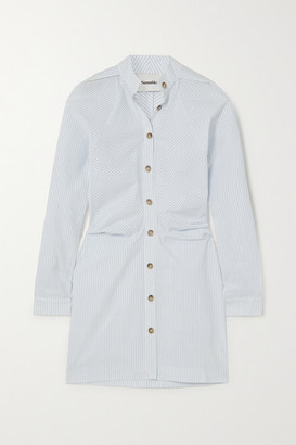 Nanushka Violet Ruched Pinstriped Cotton-poplin Shirt Dress - Light blue