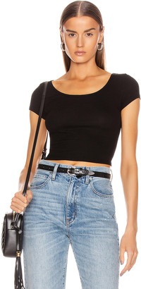Enza Costa Silk Rib Cropped Cap Top in Black | FWRD