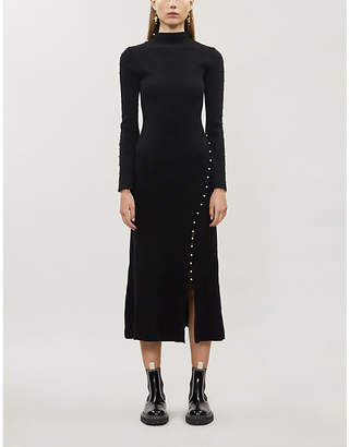 Sandro Faux pearl-embellished high-neck knitted midi dress