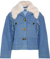 Rejina Pyo Daphne Faux Fur-trimmed Denim Jacket