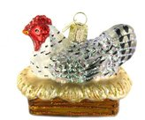Old World Christmas Hen On Nest Glass Blown Ornament