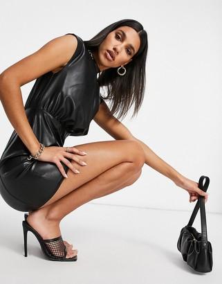 ASOS DESIGN leather look drape front mini dress in black