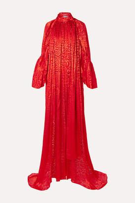Balenciaga Draped Leopard-print Devore-satin Top - Red