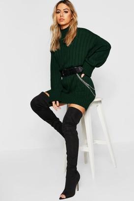 boohoo Petite Oversized Rib Knit Jumper Dress